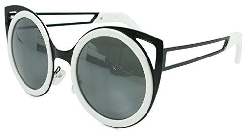 """Felix"" Women's Designer Retro Round Cateye Sunglasses with Mirror Lens - Aloha Eyes - 5"