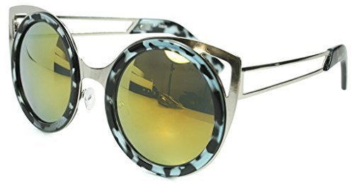 """Felix"" Women's Designer Retro Round Cateye Sunglasses with Mirror Lens - Aloha Eyes - 2"