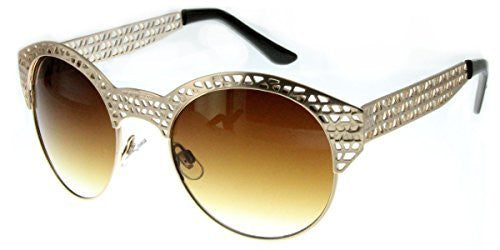 """City Bridge"" Women's Edgy Metal Cutout Designer Fashion Sunglasses - Aloha Eyes - 1"