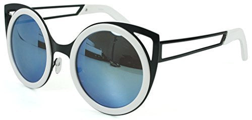 """Felix"" Women's Designer Retro Round Cateye Sunglasses with Mirror Lens - Aloha Eyes - 1"