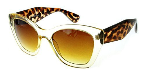 """Crystal Queen"" Women's Translucent Cateye Designer Inspired Fashion Sunglasses - Aloha Eyes - 1"