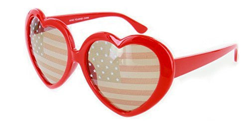 """Heart of America"" Women's Heart Shaped Flag Sunglasses - Aloha Eyes - 1"