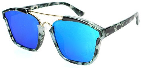 """Central Park"" Women's Designer Wayfarer Sunglasses with Flat Mirror Lens - Aloha Eyes - 2"