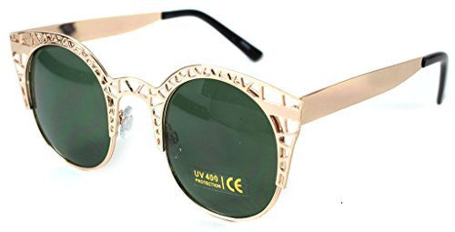 """Eiffel Tower"" Women's Cateye Metal Mesh Fashion Designer-Inspired Sunglasses - Aloha Eyes - 6"