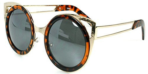 """Felix"" Women's Designer Retro Round Cateye Sunglasses with Mirror Lens - Aloha Eyes - 4"