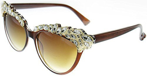 """Magnifique"" Women's Crystal Embellished Cateye Fashion Trendy Sunglasses"