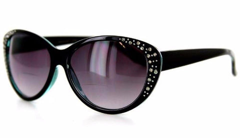 """Piazza"" Bifocal Sunglasses Color: Black & Blue w/ Smoke Lens, Power: 1"