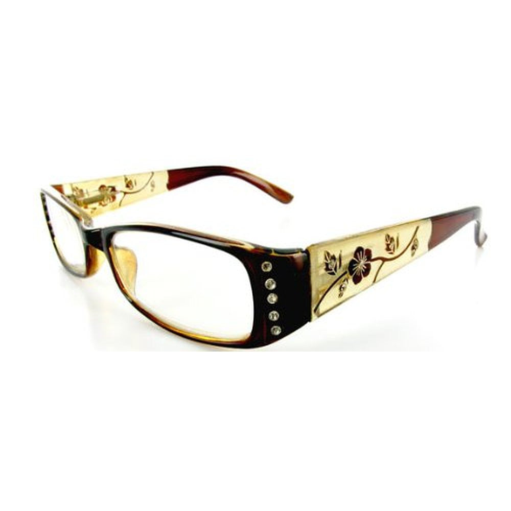 """Wild Hibiscus"" floral designer reading glasses for youthful women with elegance and style. - Aloha Eyes - 6"
