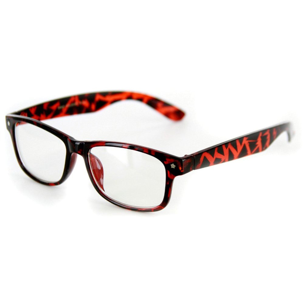"""Star Burst"" ""Just for Fun"" Clear Lens Wayfarer Fake Glasses -100% UV Protection - Aloha Eyes - 8"