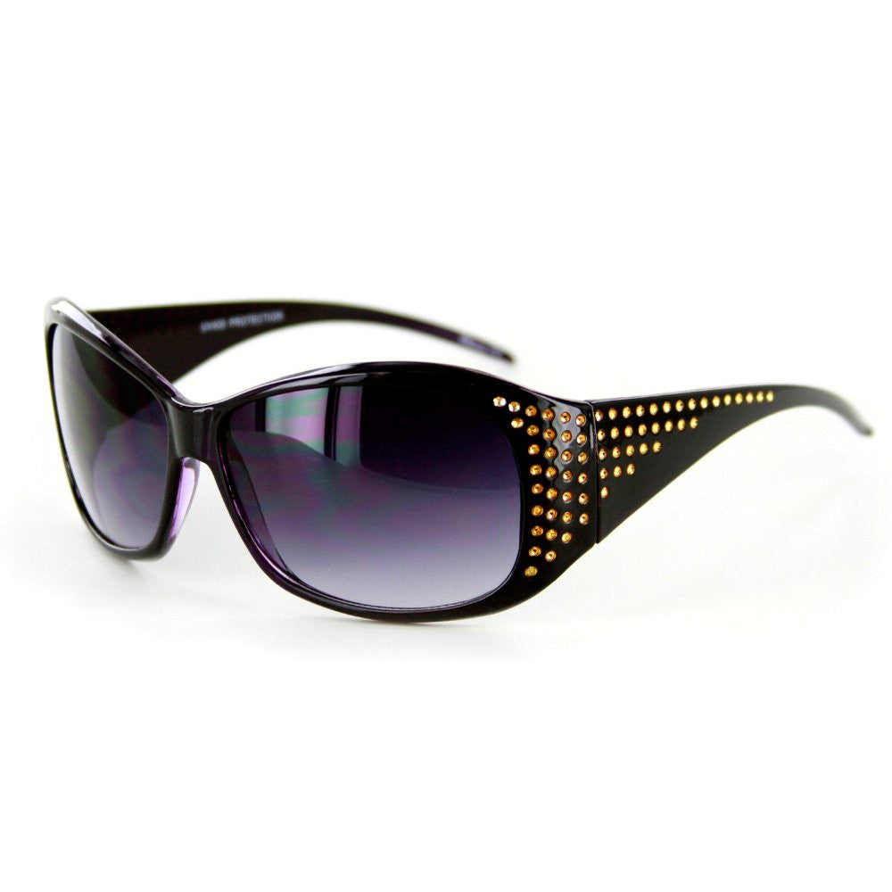 """Plaza"" Designer Sunglasses Fun Faux Crystals Medium Lenses Protect 100%UV - Aloha Eyes - 2"