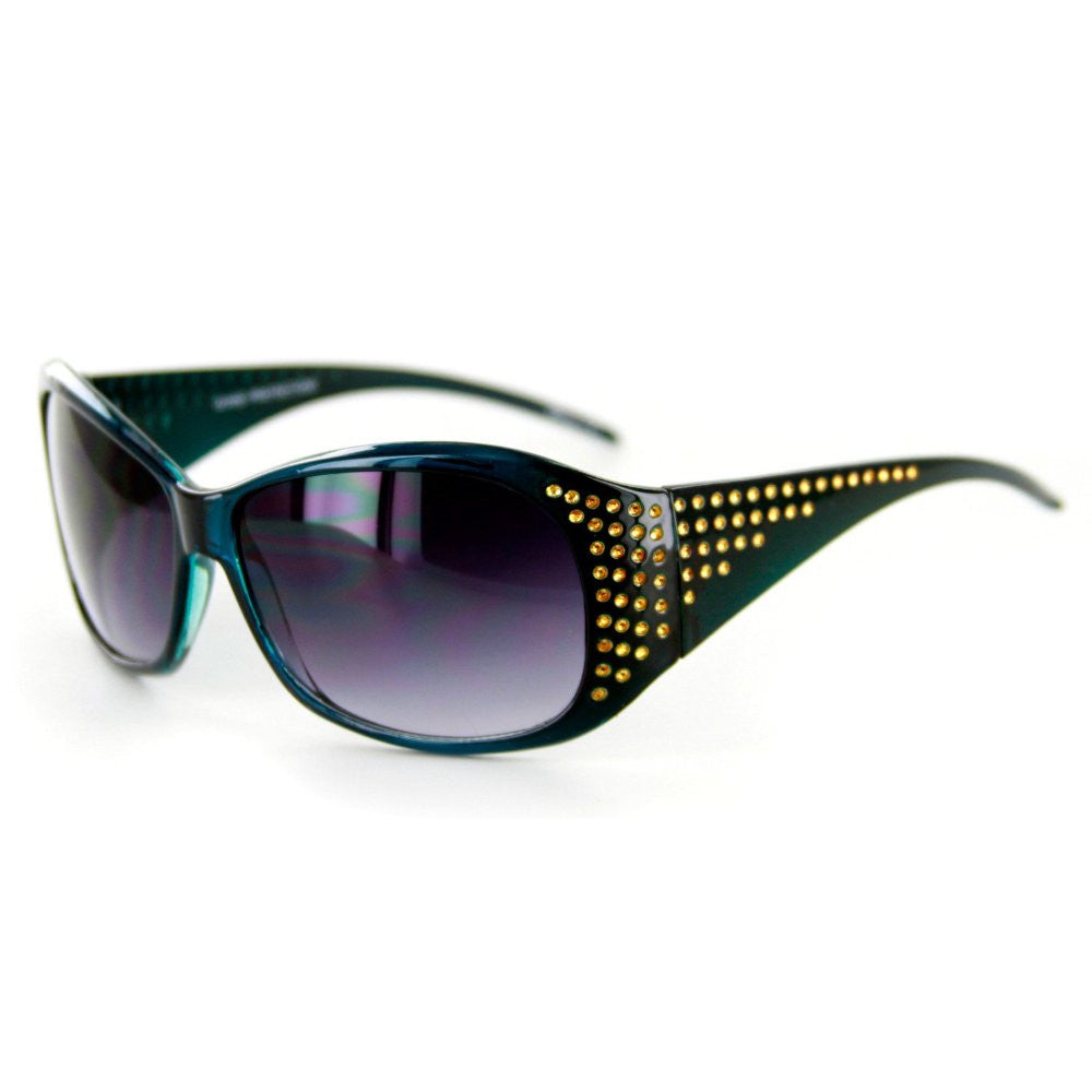 """Plaza"" Designer Sunglasses Fun Faux Crystals Medium Lenses Protect 100%UV - Aloha Eyes - 3"