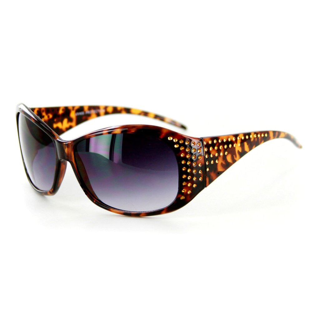 """Plaza"" Designer Sunglasses Fun Faux Crystals Medium Lenses Protect 100%UV - Aloha Eyes - 4"
