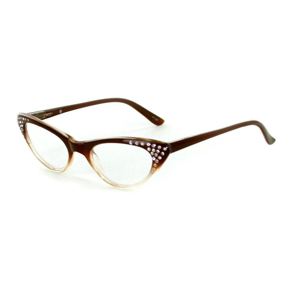"""Bravo"" Retro Cat-Eye Readers with Austrian Crystals for Women - Aloha Eyes - 2"