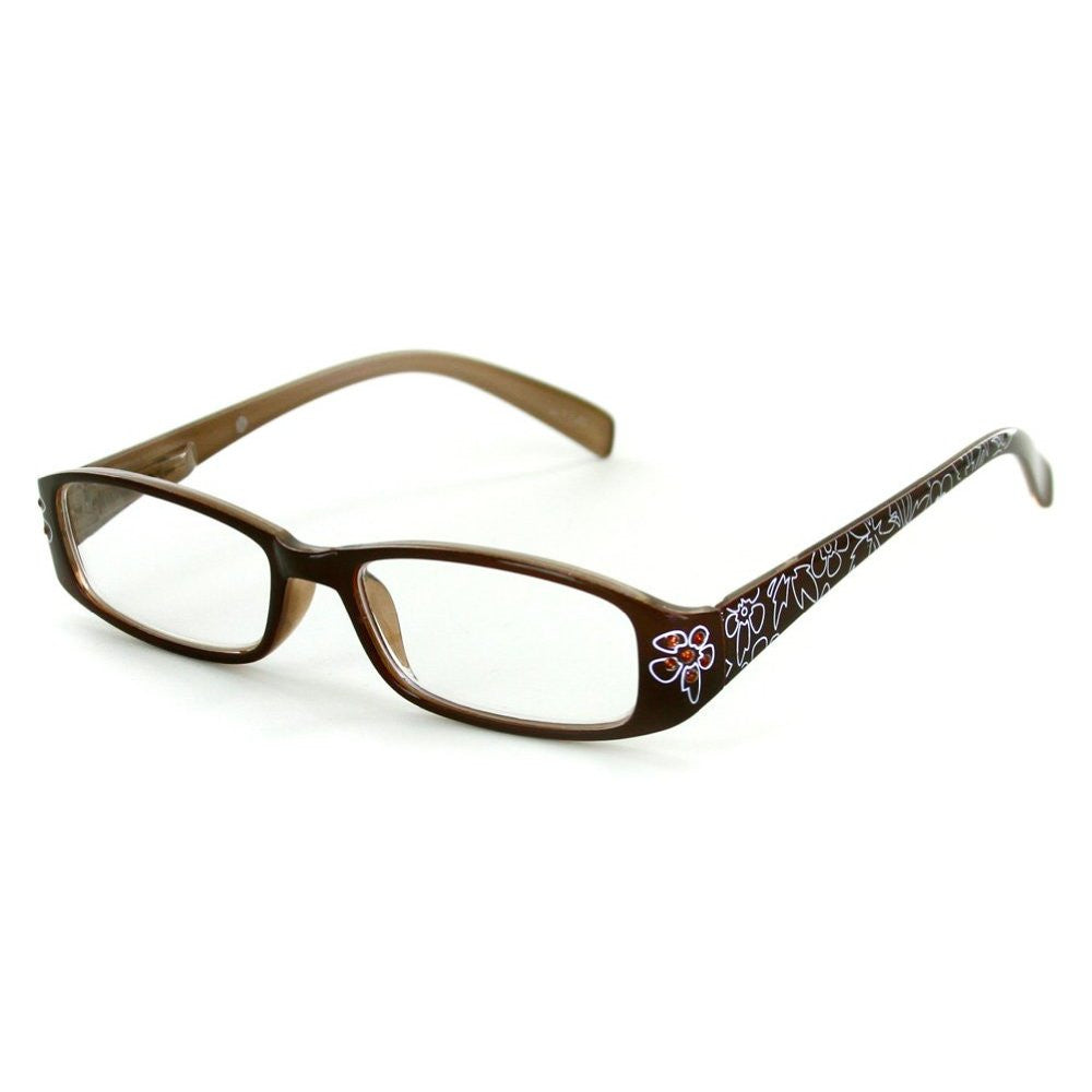 """Lotus"" Slim Floral Readers with With Colored Austrian Crystals for Women - Aloha Eyes - 2"