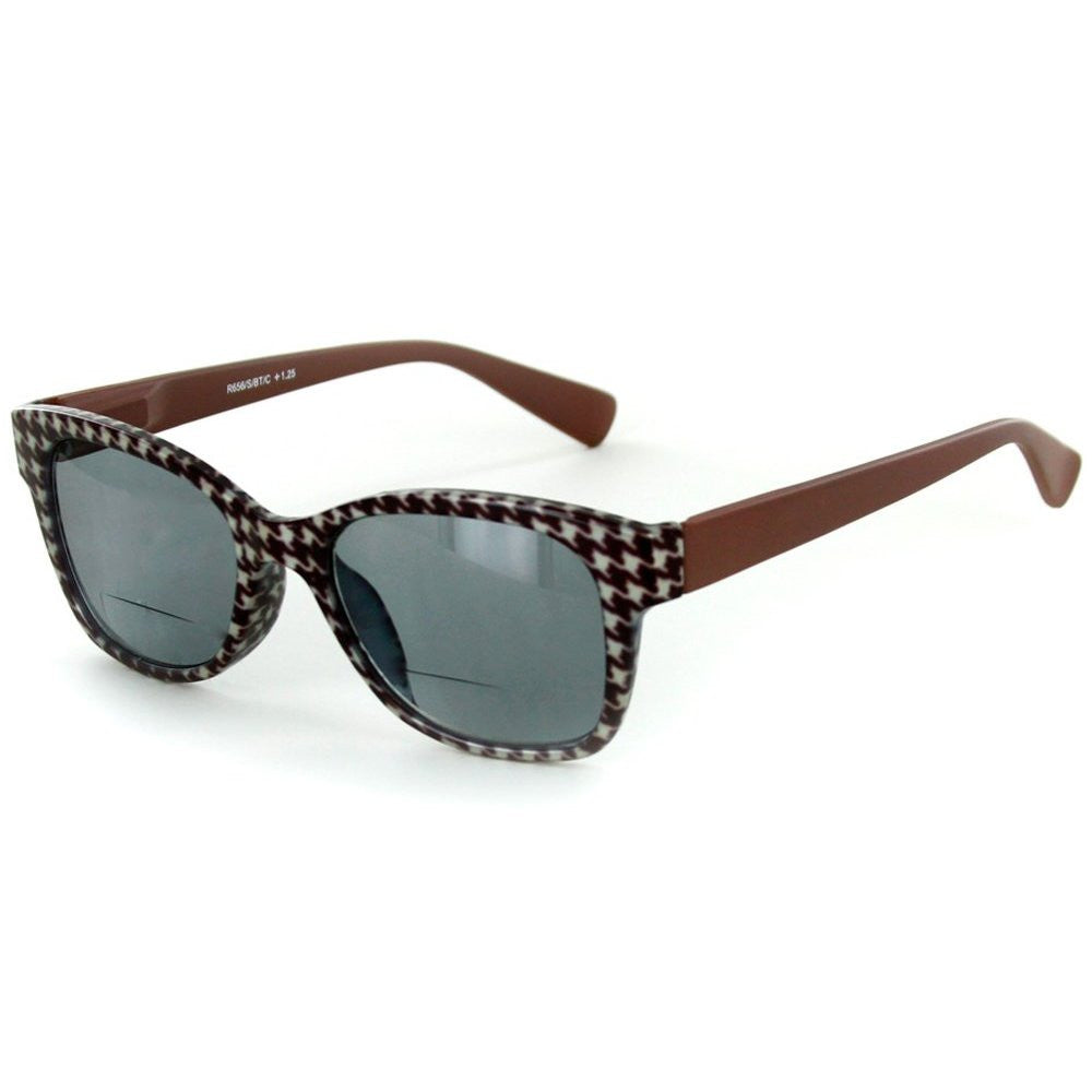 """Chex"" Bifocal Reading Wayfarer Sunglasses with Houndstooth Patterned Frames - Aloha Eyes - 3"