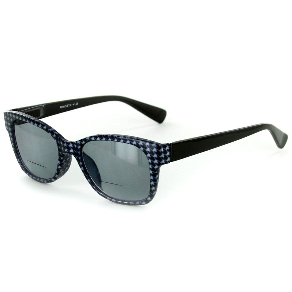 """Chex"" Bifocal Reading Wayfarer Sunglasses with Houndstooth Patterned Frames - Aloha Eyes - 2"