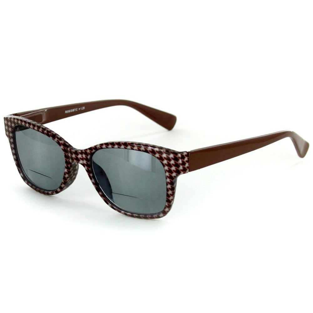 """Chex"" Bifocal Reading Wayfarer Sunglasses with Houndstooth Patterned Frames - Aloha Eyes - 4"