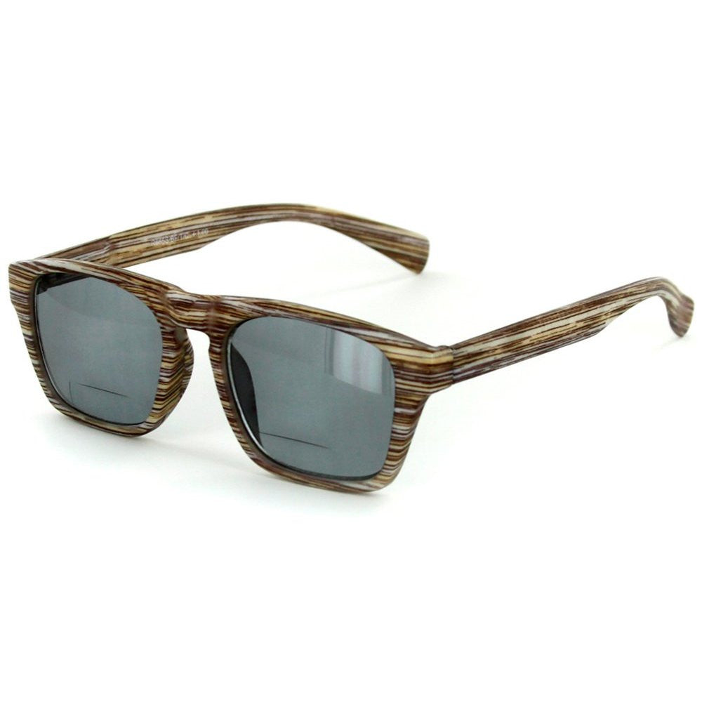 """Rickshaw"" Bifocal Reading Wayfarer Sunglasses with Faux Wood Finish for Stylish Men and Women - Aloha Eyes - 4"
