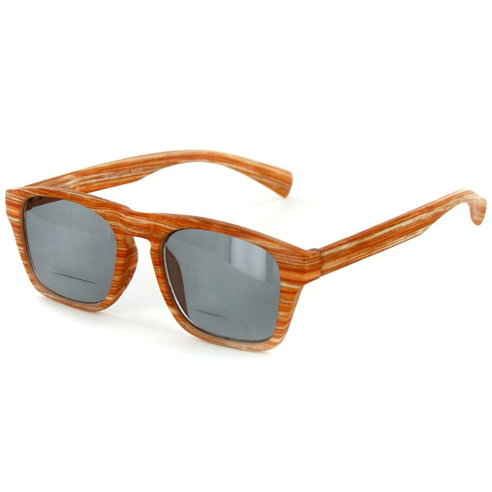 """Rickshaw"" Bifocal Reading Wayfarer Sunglasses with Faux Wood Finish for Stylish Men and Women - Aloha Eyes - 2"