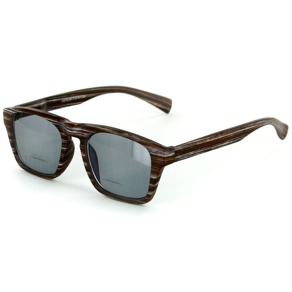 """Rickshaw"" Bifocal Reading Wayfarer Sunglasses with Faux Wood Finish for Stylish Men and Women - Aloha Eyes - 3"