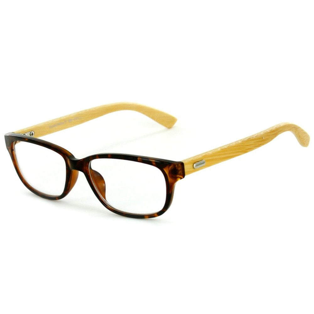 """Zen Garden"" Eco-Chic Wayfarer Reading Glasses with Natural Bamboo Temples - Aloha Eyes - 3"