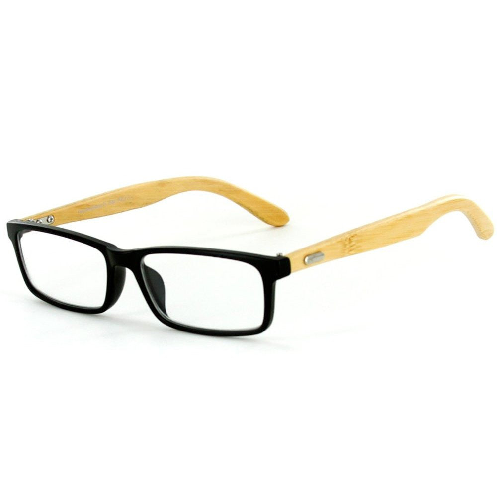"""Zen Temple"" Eco-Chic Wayfarer Reading Glasses with Natural Bamboo Temples - Aloha Eyes - 2"