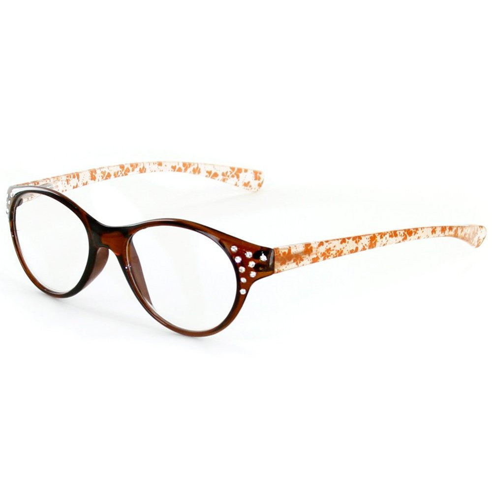 """Crystal Lace"" Cateye Reading Glasses with Multicolored Demi Frames for Stylish Women - Aloha Eyes - 2"