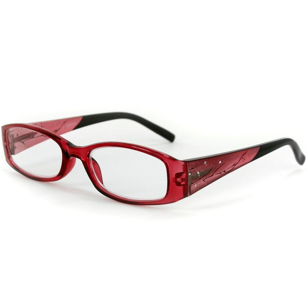 """Aspen"" Slim Reading Glasses with Crystals and Frosted Nature Pattern for Women - Aloha Eyes - 3"