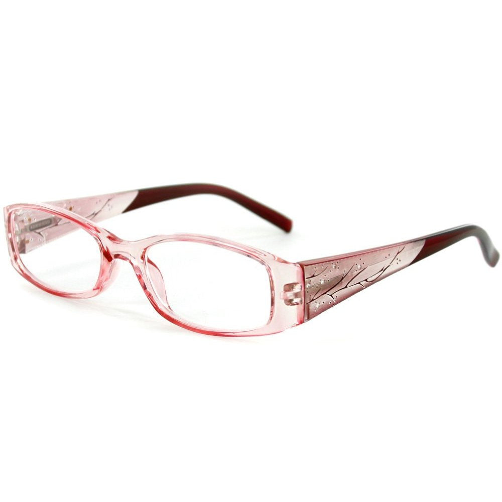 """Aspen"" Slim Reading Glasses with Crystals and Frosted Nature Pattern for Women - Aloha Eyes - 4"