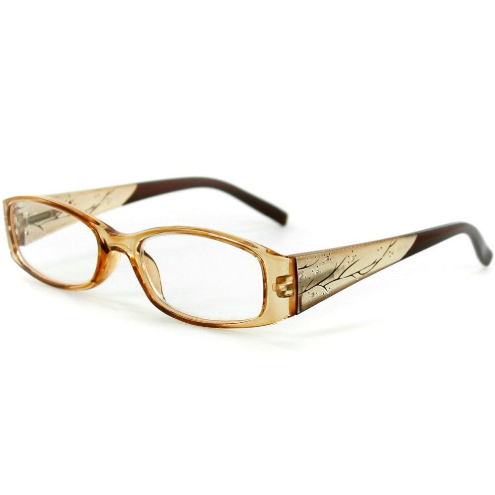 """Aspen"" Slim Reading Glasses with Crystals and Frosted Nature Pattern for Women - Aloha Eyes - 2"