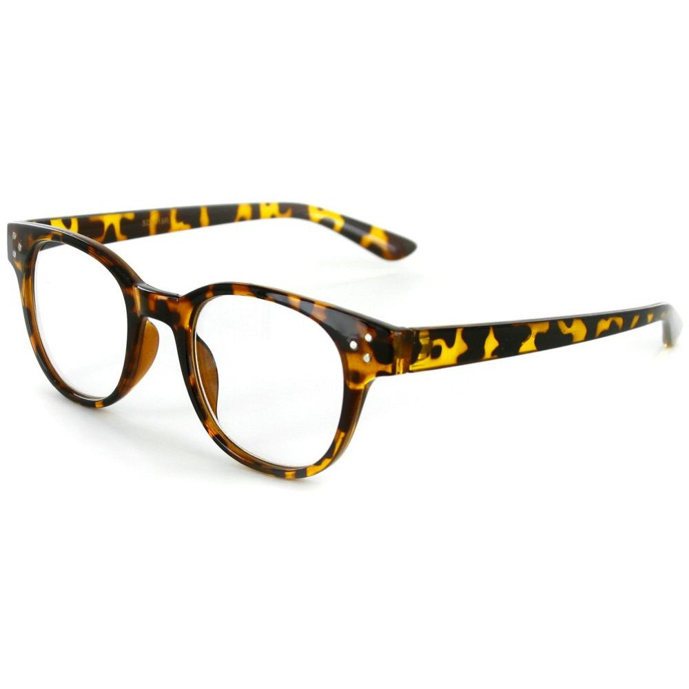 """Metro"" Round Wayfarer Reading Glasses with Studs for Men and Women - Aloha Eyes - 3"