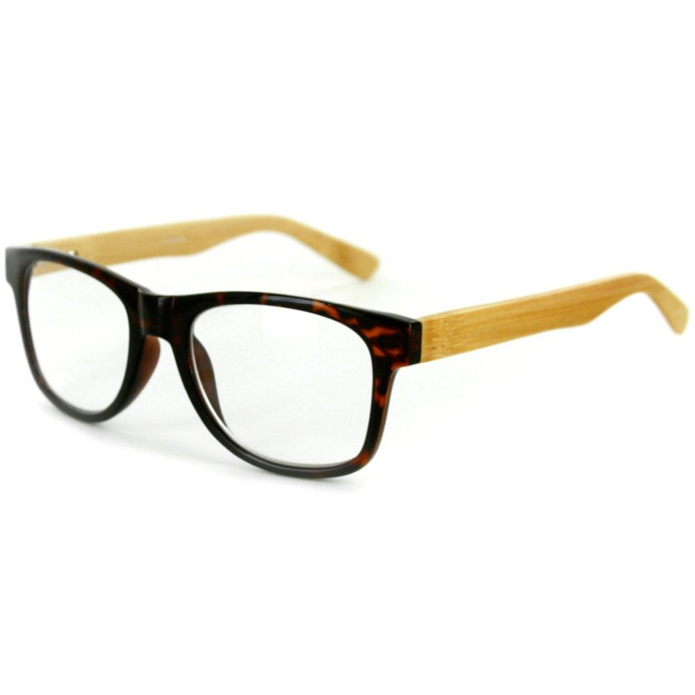 """Zen Master"" Eco-Chic Wayfarer Unisex Reading Glasses with Woodgrain Temples - Aloha Eyes - 3"
