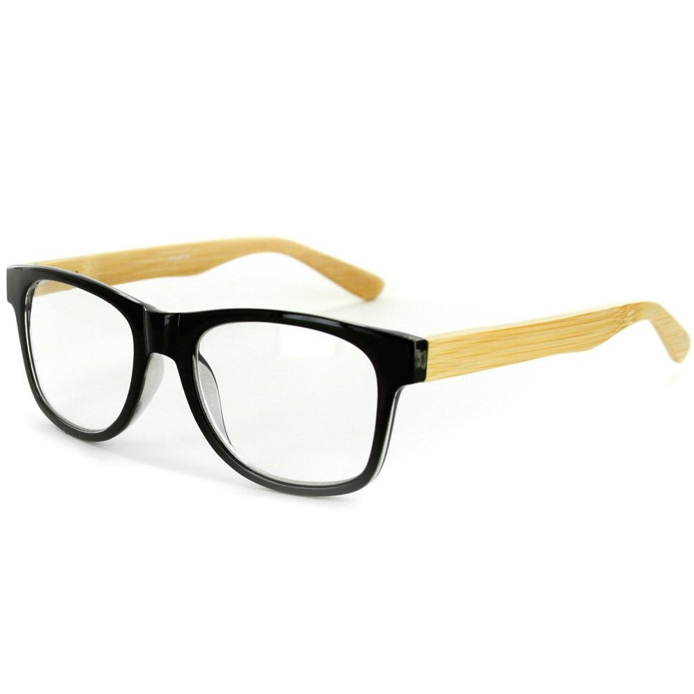 """Zen Master"" Eco-Chic Wayfarer Unisex Reading Glasses with Woodgrain Temples - Aloha Eyes - 1"