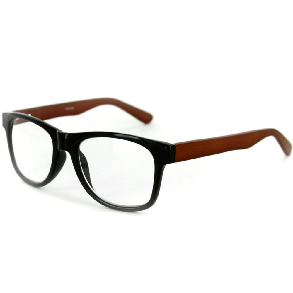 """Zen Master"" Eco-Chic Wayfarer Unisex Reading Glasses with Woodgrain Temples - Aloha Eyes - 2"
