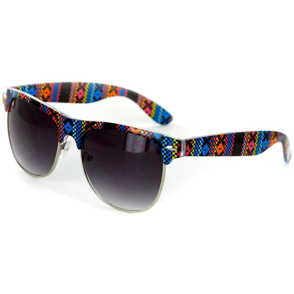"""Santa Fe"" Clubmaster Sunglasses with Native American Pattern for Men and Women - Aloha Eyes - 2"