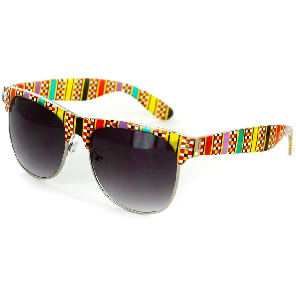 """Santa Fe"" Clubmaster Sunglasses with Native American Pattern for Men and Women - Aloha Eyes - 4"