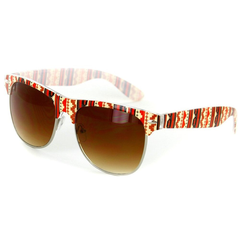"""Santa Fe"" Clubmaster Sunglasses with Native American Pattern for Men and Women - Aloha Eyes - 3"