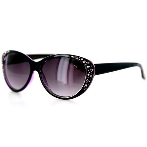 """Piazza"" Bifocal Sunglasses Color: Dark Blue & Purple w/ Smoke Lens, Power: 1"