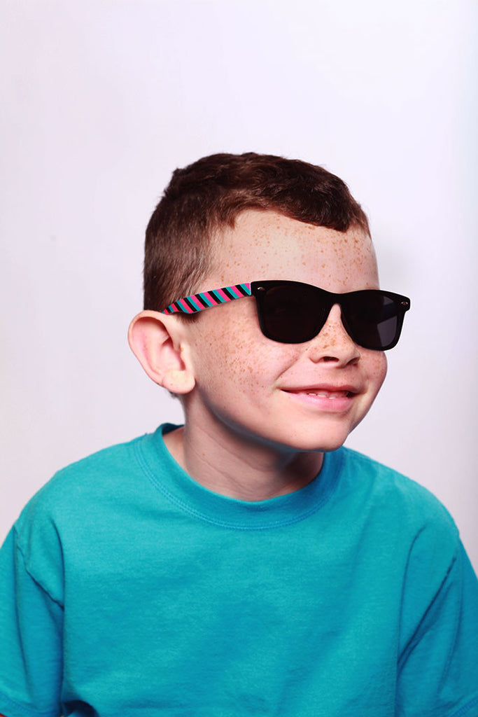 """Lollipops"" Polarized (Anti-Glare) Kids Striped Retro Wayfarer Sunglasses 100%UV - Aloha Eyes - 4"