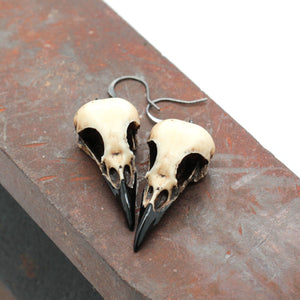 miniature magpie skull earrings