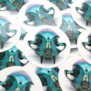 multichrome cat skull sticker