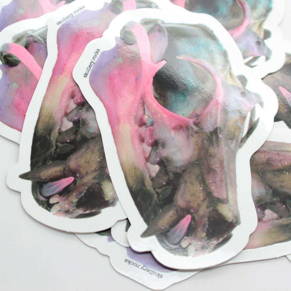 galaxy flying fox bat skull sticker