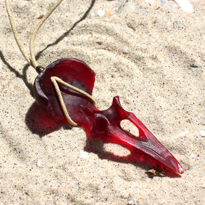 seaglass crow skull necklace - preorder