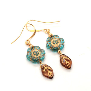 teal flower earrings