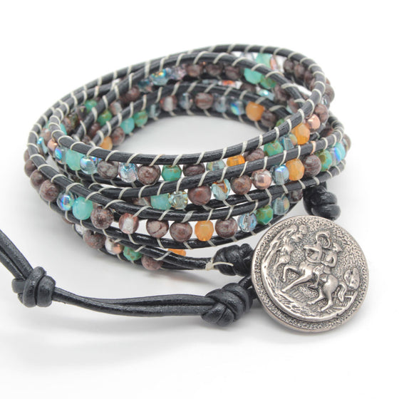 horse and rider beaded wrap bracelet