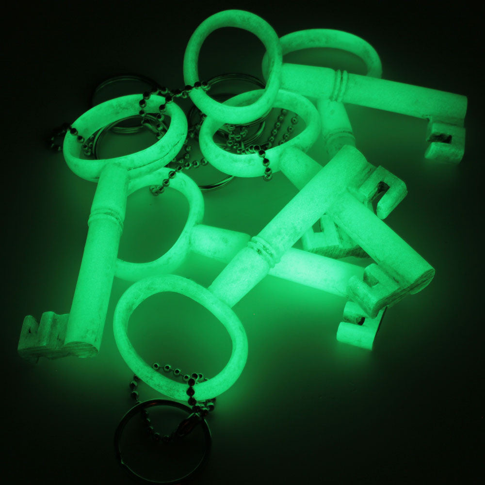 glow in the dark skeleton key keychain