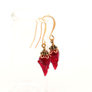 mini sparrow earrings - red + gold