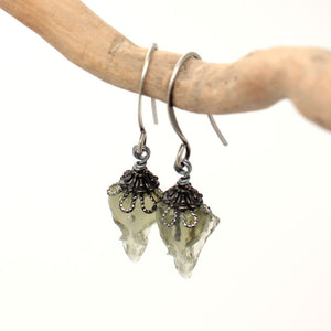 mini sparrow earrings - olive + gunmetal