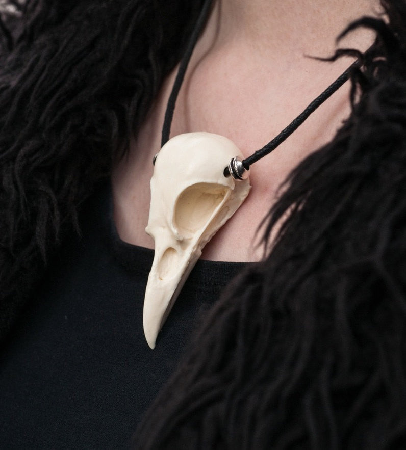 magpie skull necklace on cotton cord