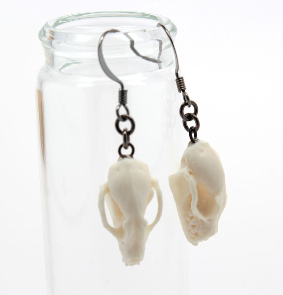 mini bat skull earrings